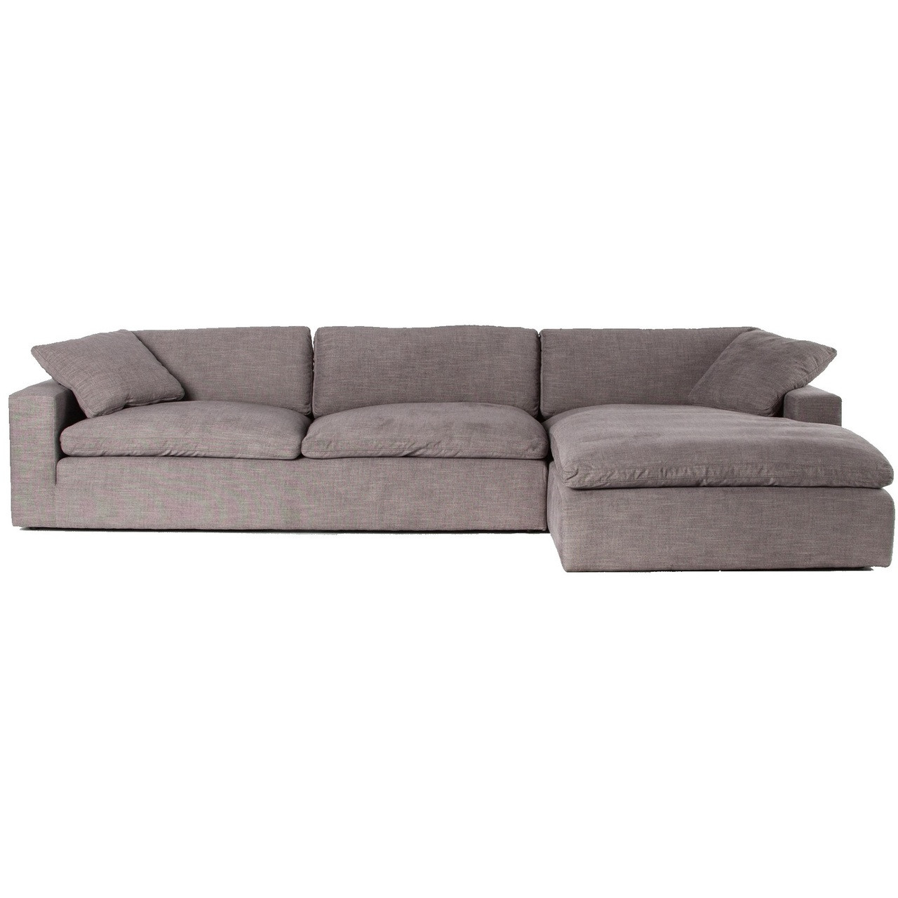 Plume Grey Upholstered Block Arm Large Sectional Sofa 136\