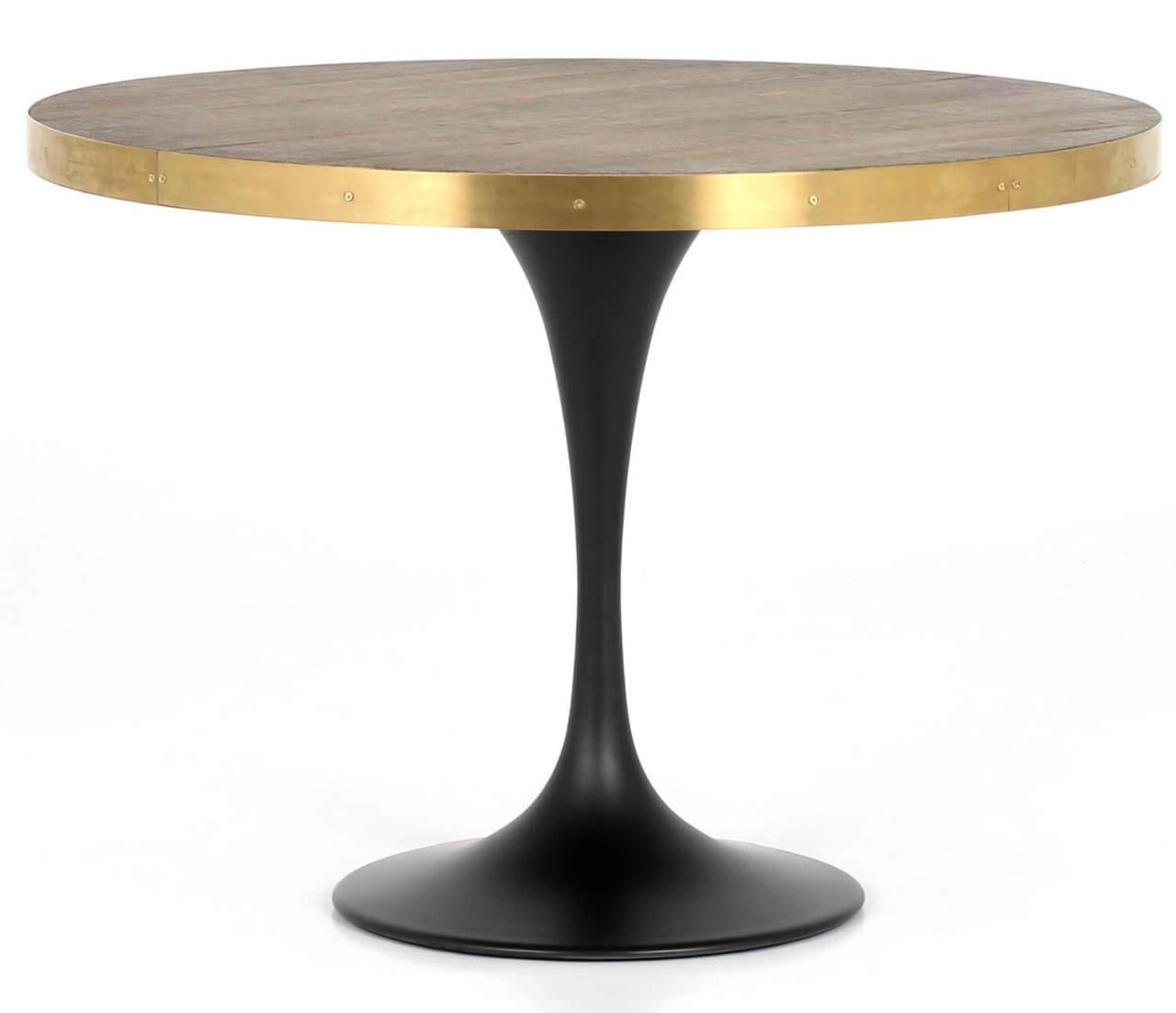 Evans Industrial Oak Wood Tulip Round Bistro Table 42 Zin Home