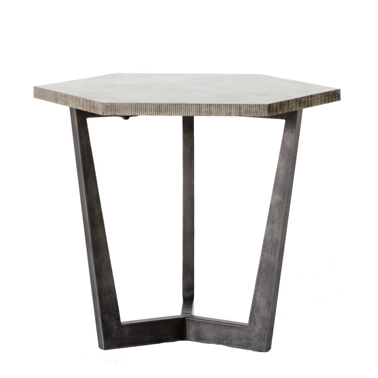 Astounding Quentin Industrial Iron Bluestone Hexagon End Table Pabps2019 Chair Design Images Pabps2019Com