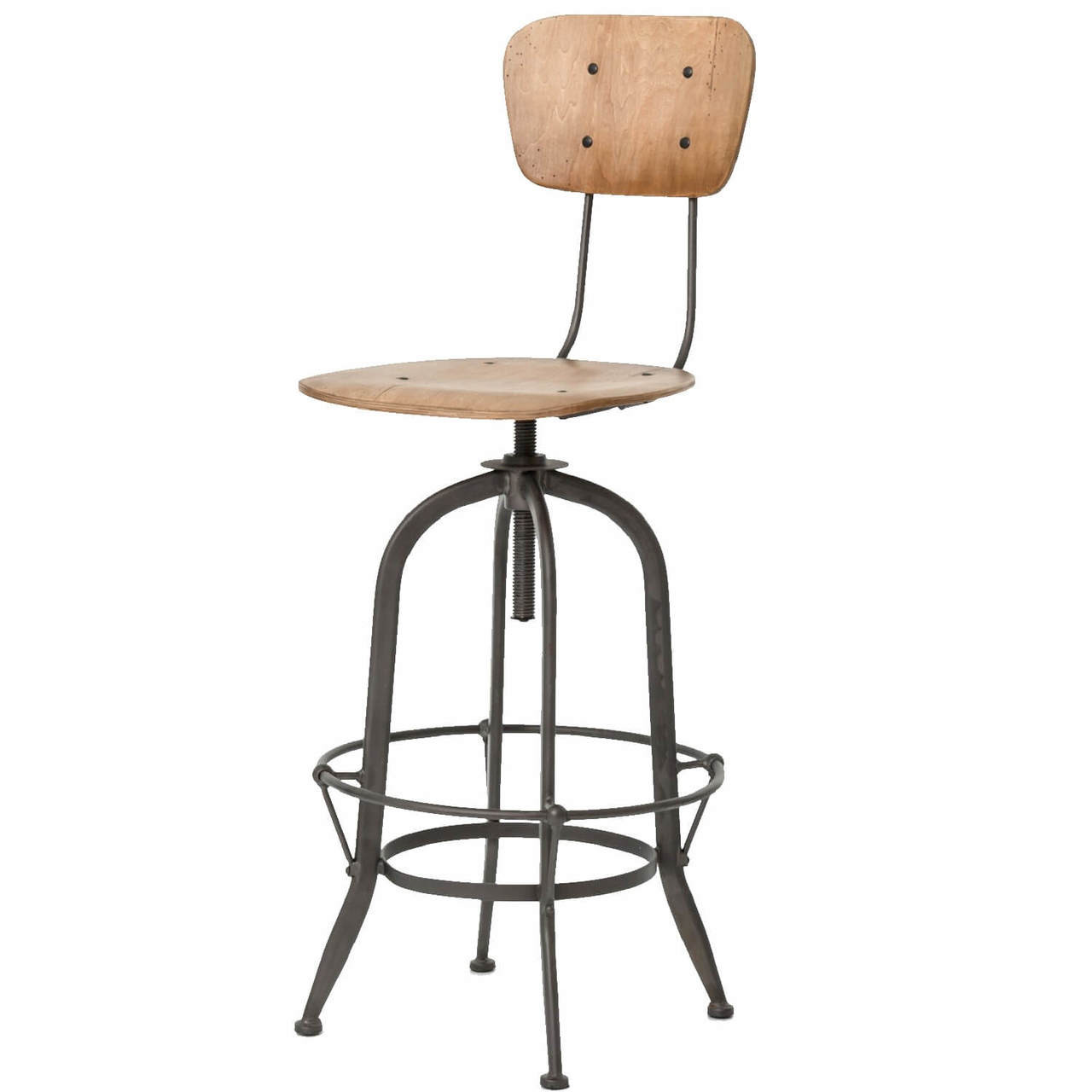 Groovy Jack Industrial Adjustable Bar Stool With Back Squirreltailoven Fun Painted Chair Ideas Images Squirreltailovenorg