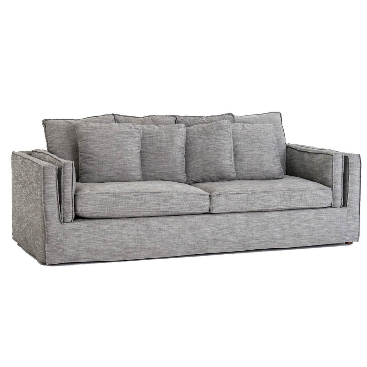 Davidson Pillowback Dark Grey Slip Cover Sofa 94\