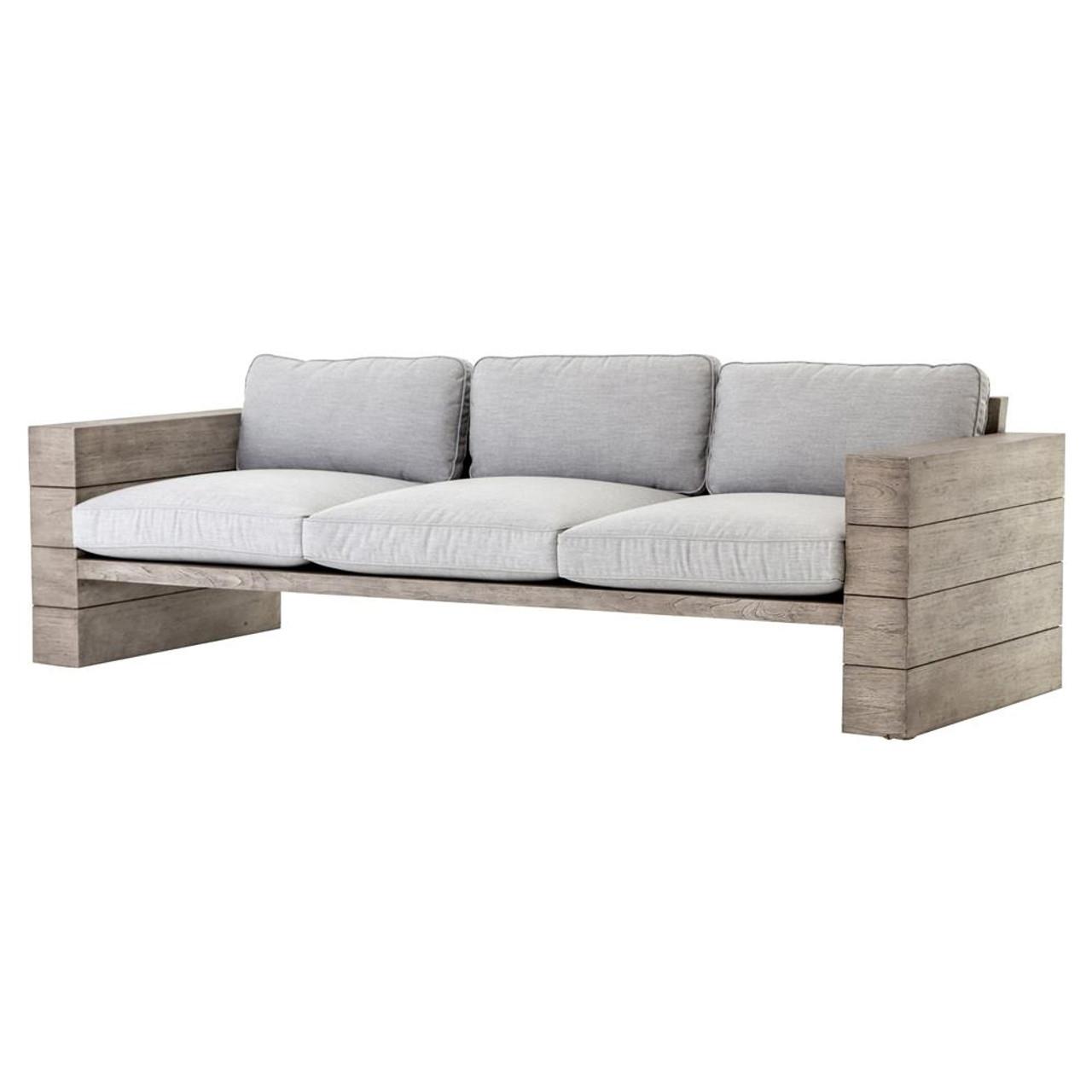 Leroy Cushioned Grey Teak Wood Outdoor Sofa