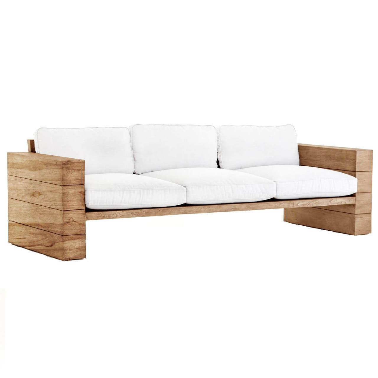 Leroy White Cushioned Natural Teak Wood Outdoor Sofa