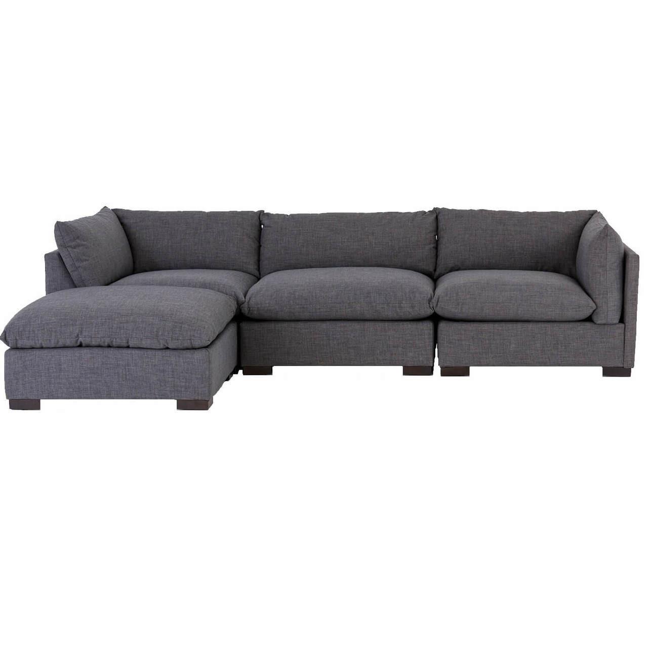 Westworld Modern Gray 4-Piece Modular Lounge Sectional Sofa