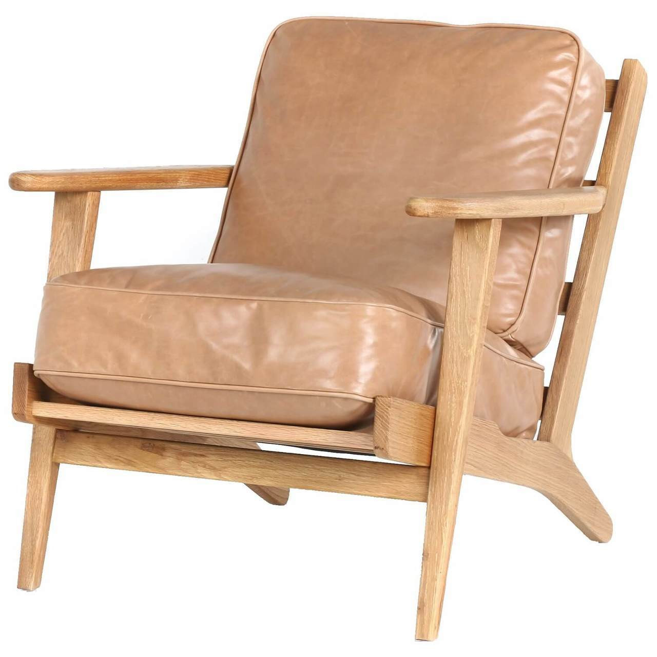 Mid Century Modern Brooks Tan Leather Lounge Armchair