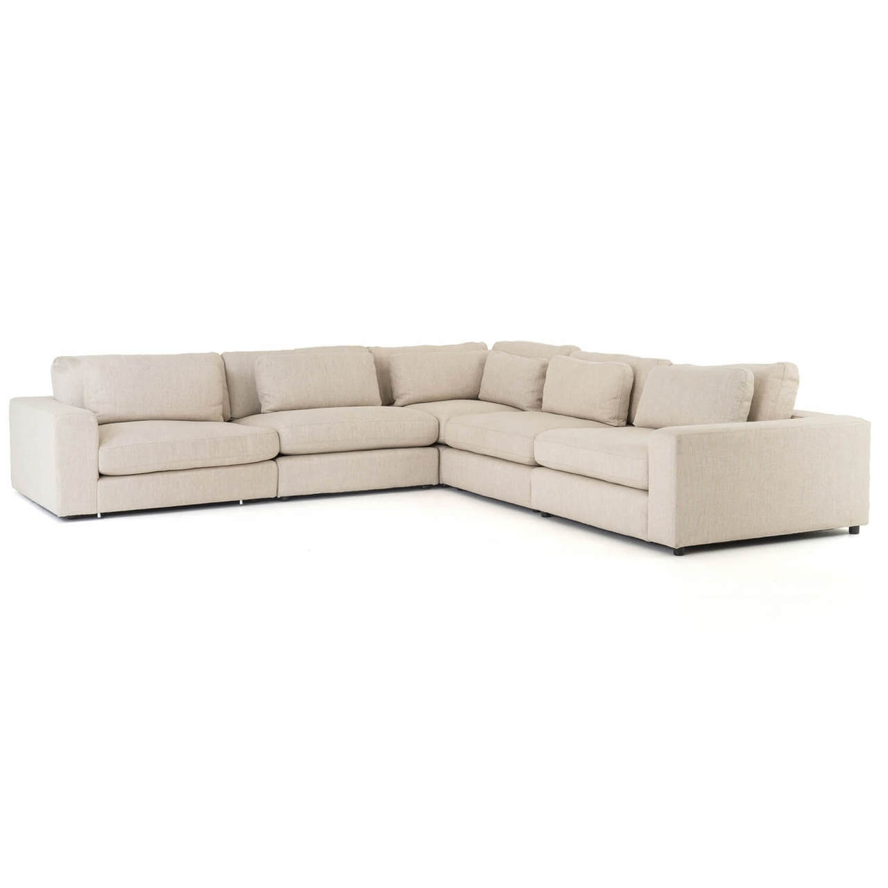 Bloor Contemporary Beige 5 Piece Corner Sectional Sofas 131\