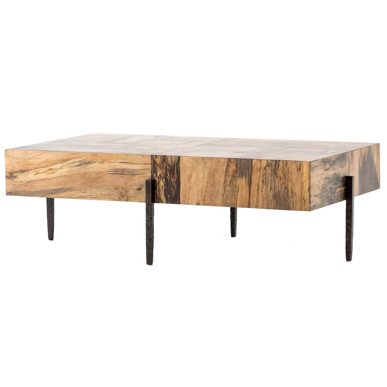 Inkas Organic Spalted Primavera Wood Block Coffee Table 52 Zin Home