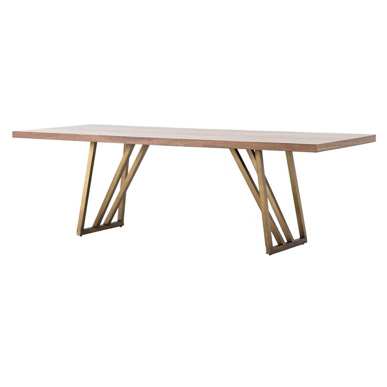 Kapri Antique Bronze Base Walnut Wood Dining Table 96 Zin Home