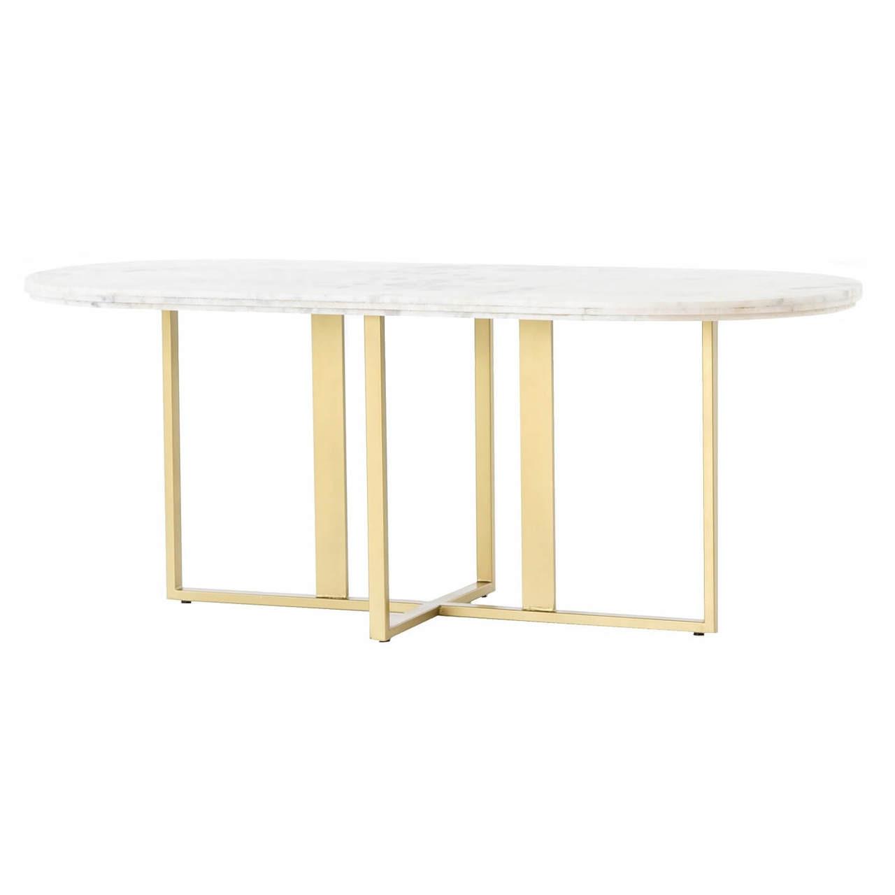 sc 1 st  Zin Home & Torino Brass Leg White Marble Oval Dining Room Tables 74\