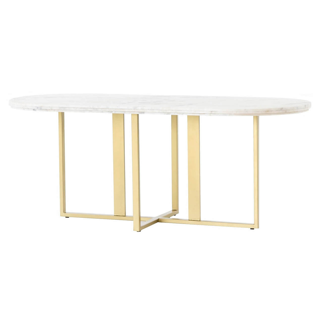 Torino brass leg white marble oval dining table 74