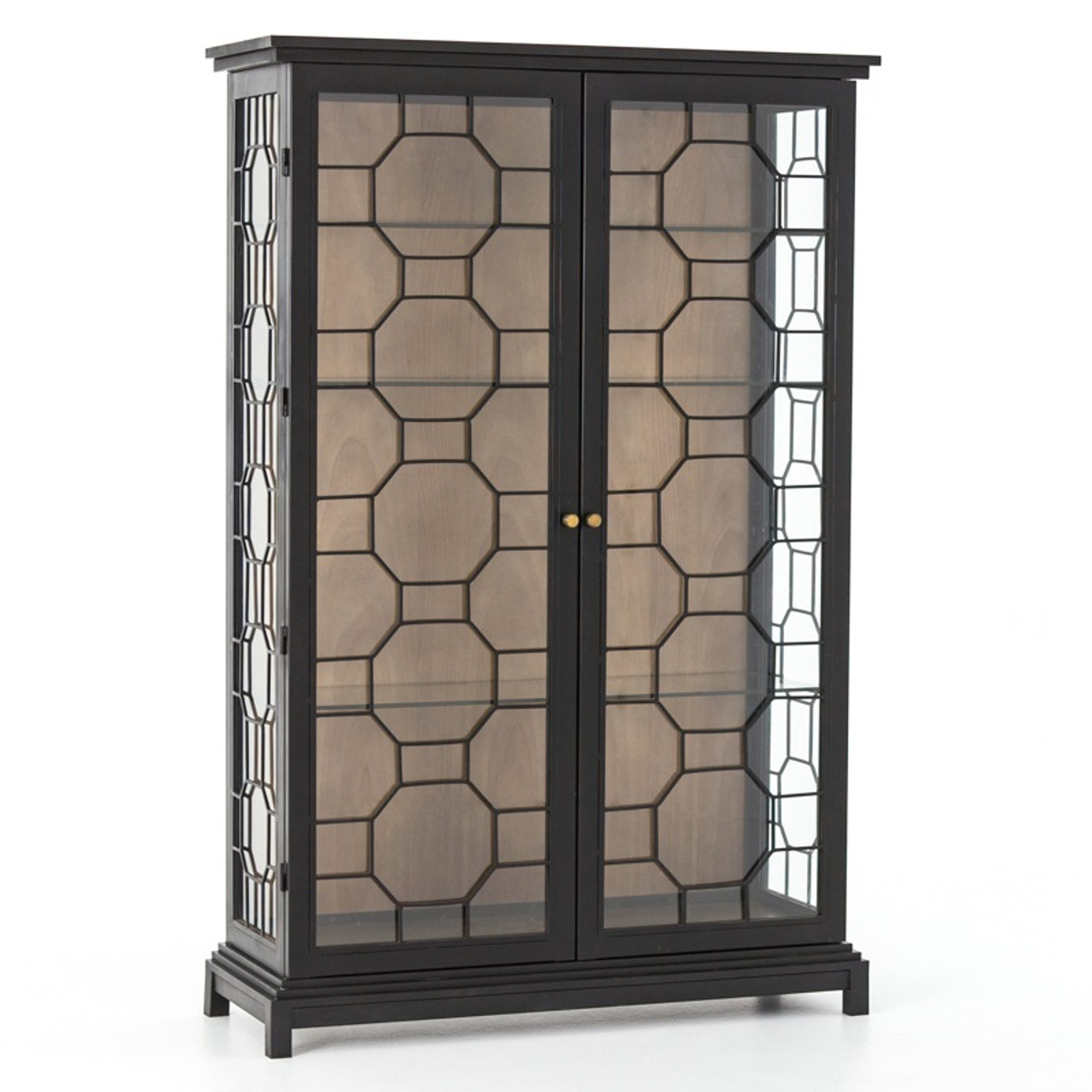 Anna Black Iron Frame Glass Door Display Etagere Cabinet Zin Home