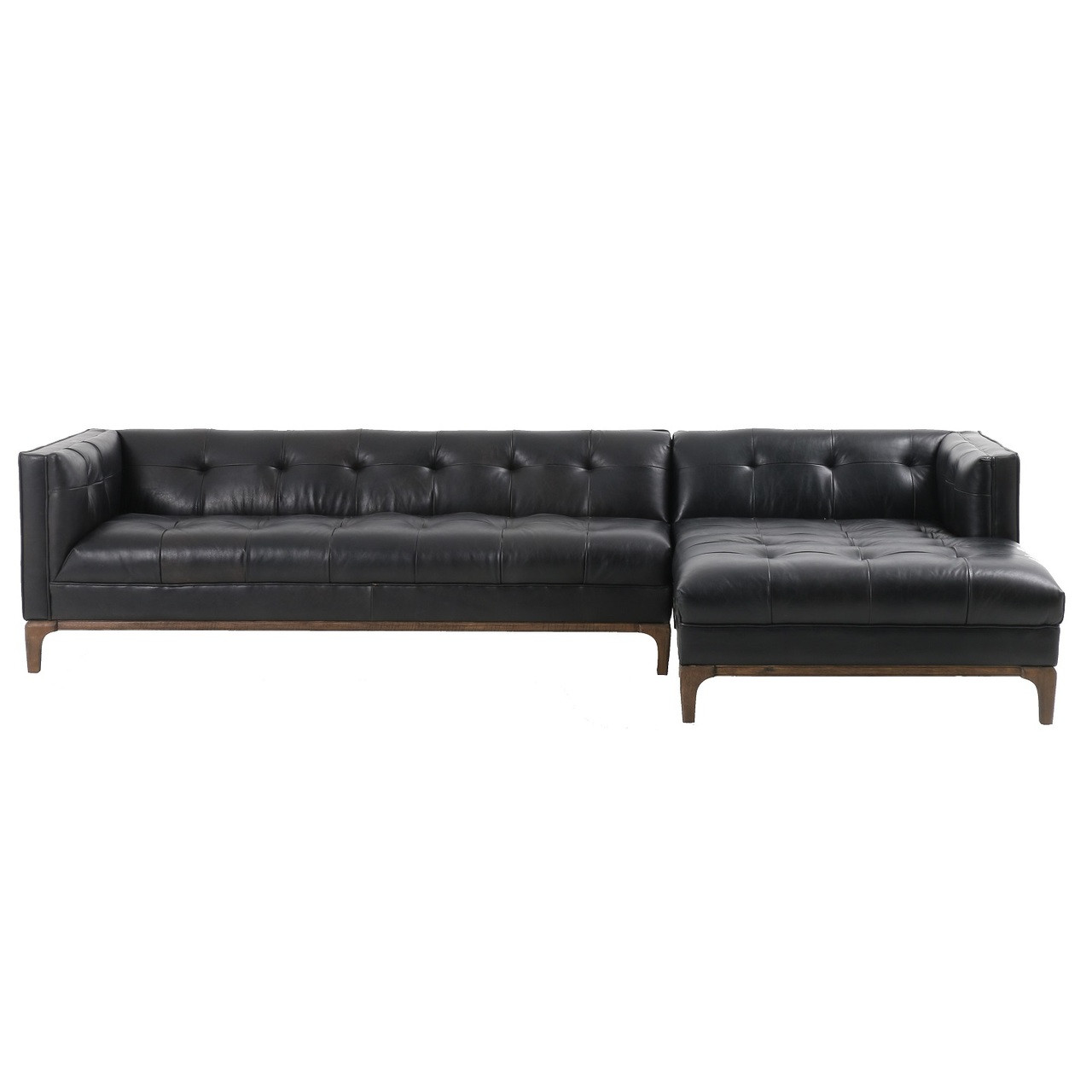 Dylan Mid-Century Modern Tufted Black Leather Sectional Sofa
