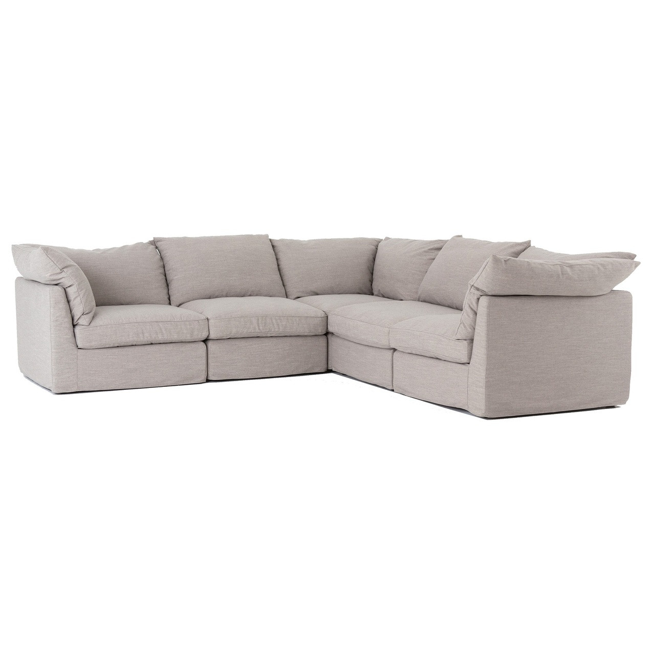 Paul Coastal Grey L-Shaped 5-PC Modular Corner Sectional