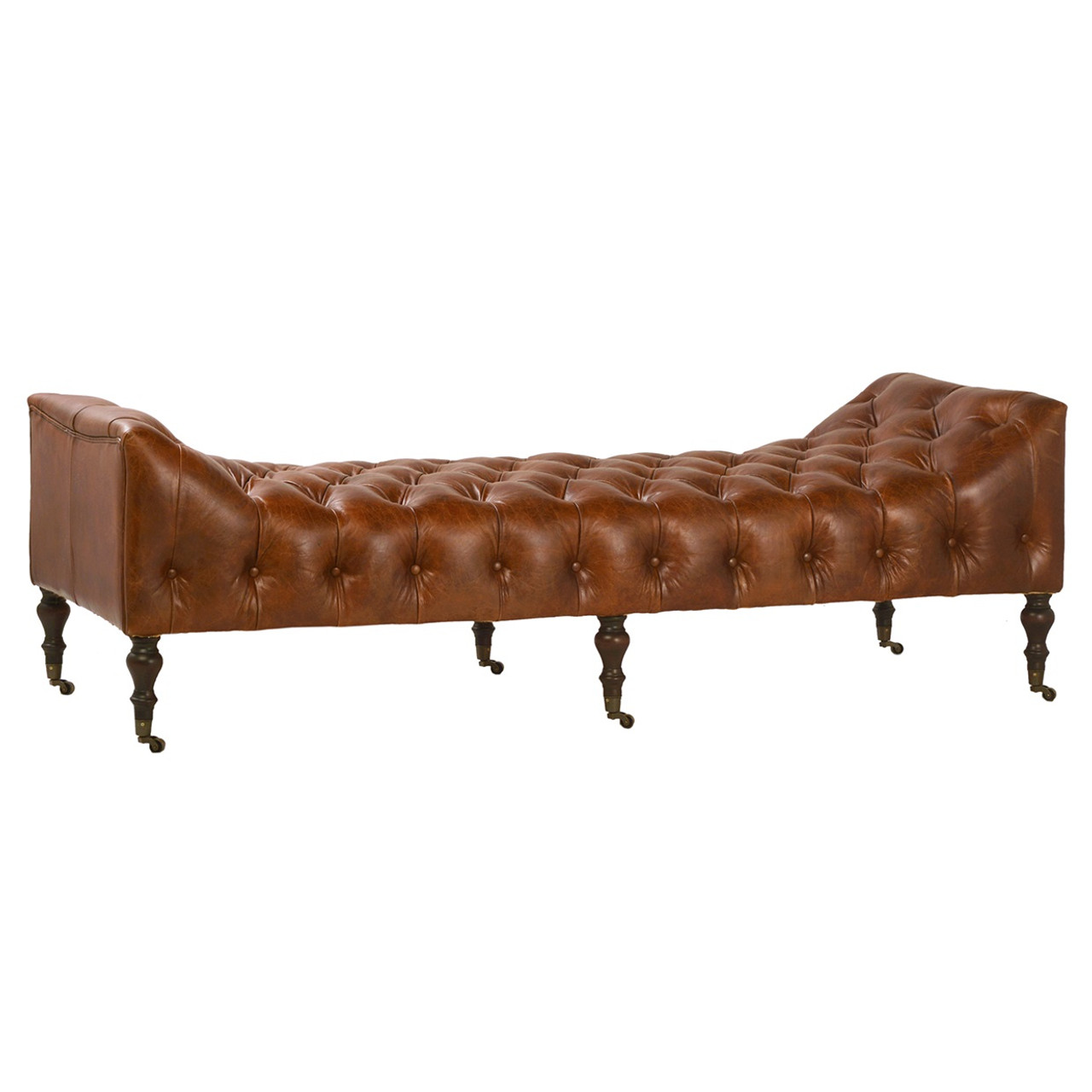 Remington Tufted Leather Curved Bench Daybed Zin Home