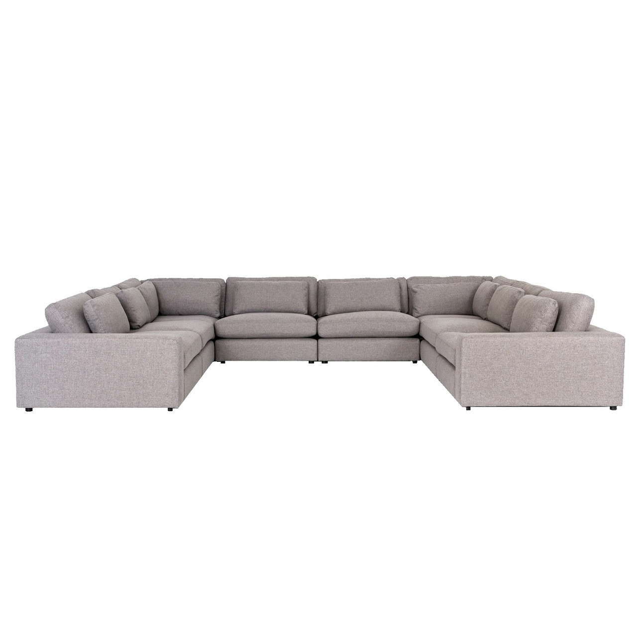 Bloor Contemporary Gray Fabric 8-Piece U-Shaped Sectional Sofa 170\