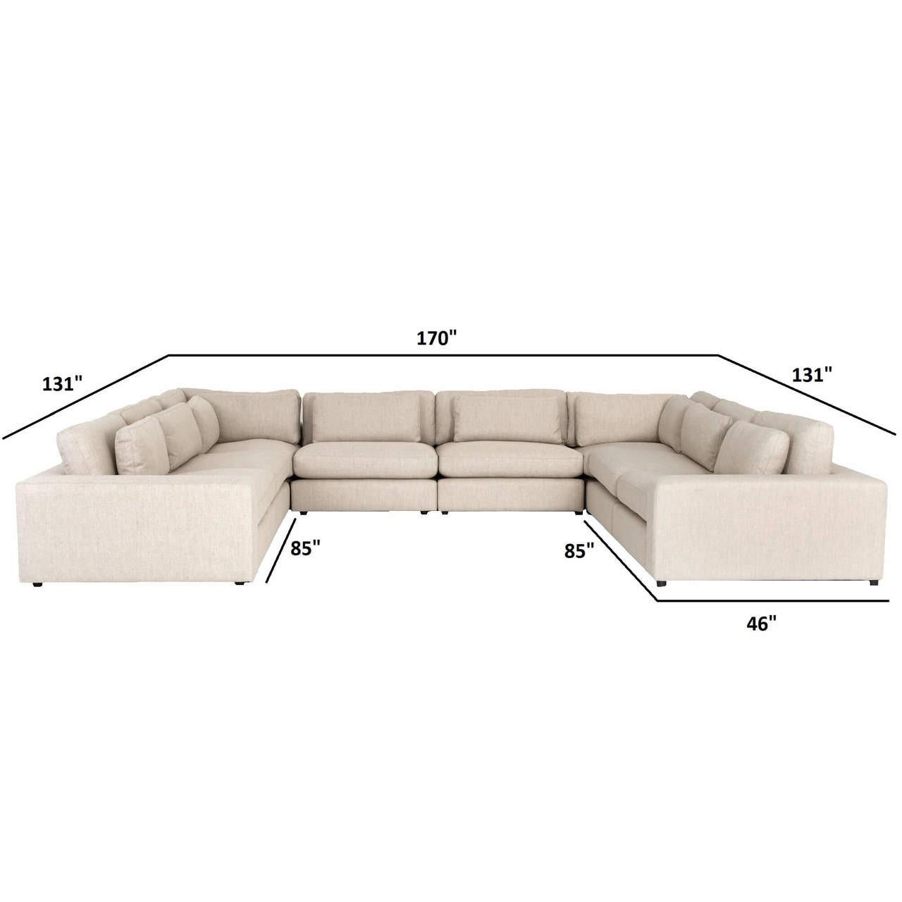 Magnificent Bloor Contemporary Beige Linen 8 Piece U Shaped Sectional Sofa Alphanode Cool Chair Designs And Ideas Alphanodeonline