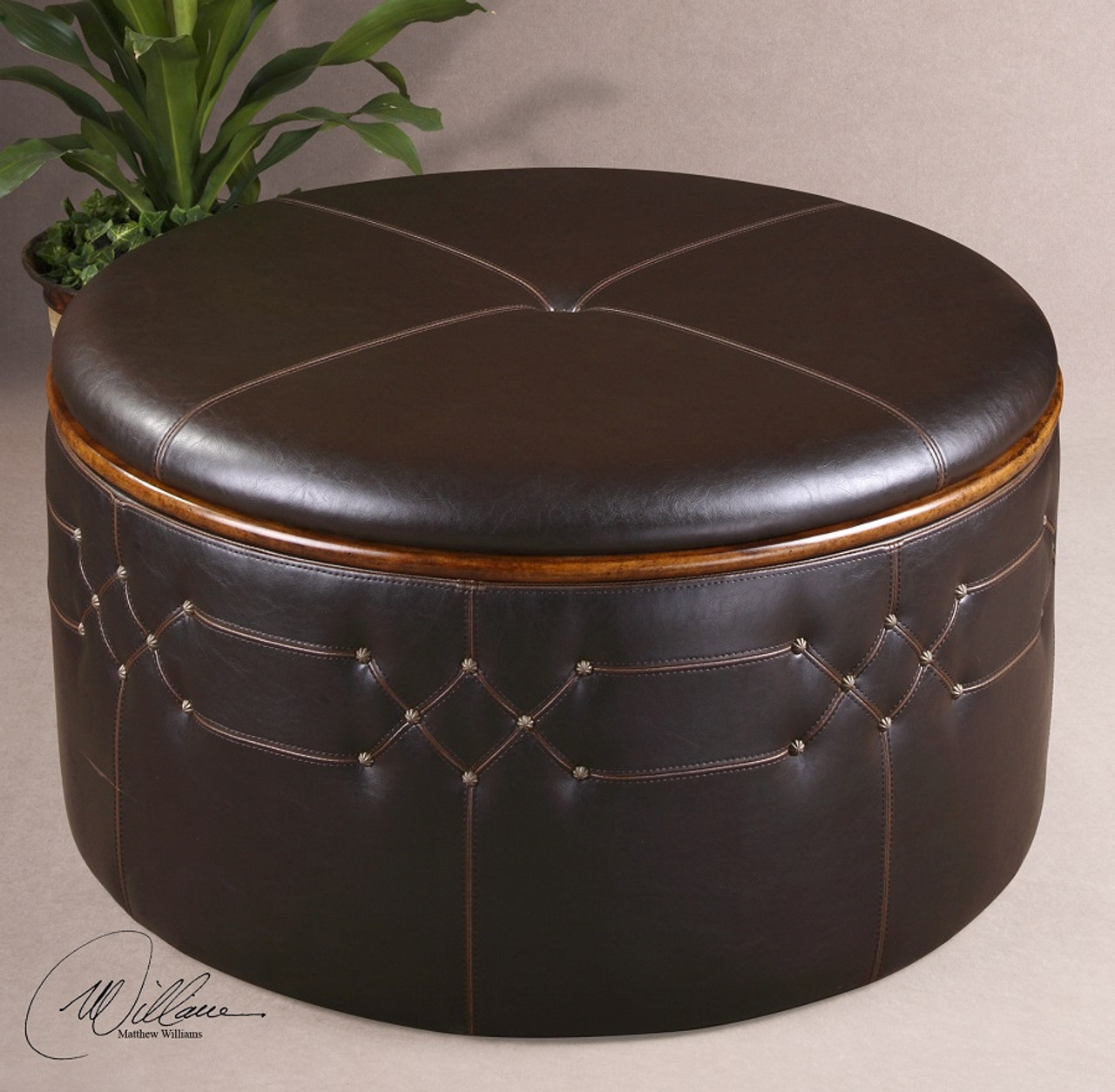 Phenomenal Brunner Round Leather Ottoman With Storage Gmtry Best Dining Table And Chair Ideas Images Gmtryco