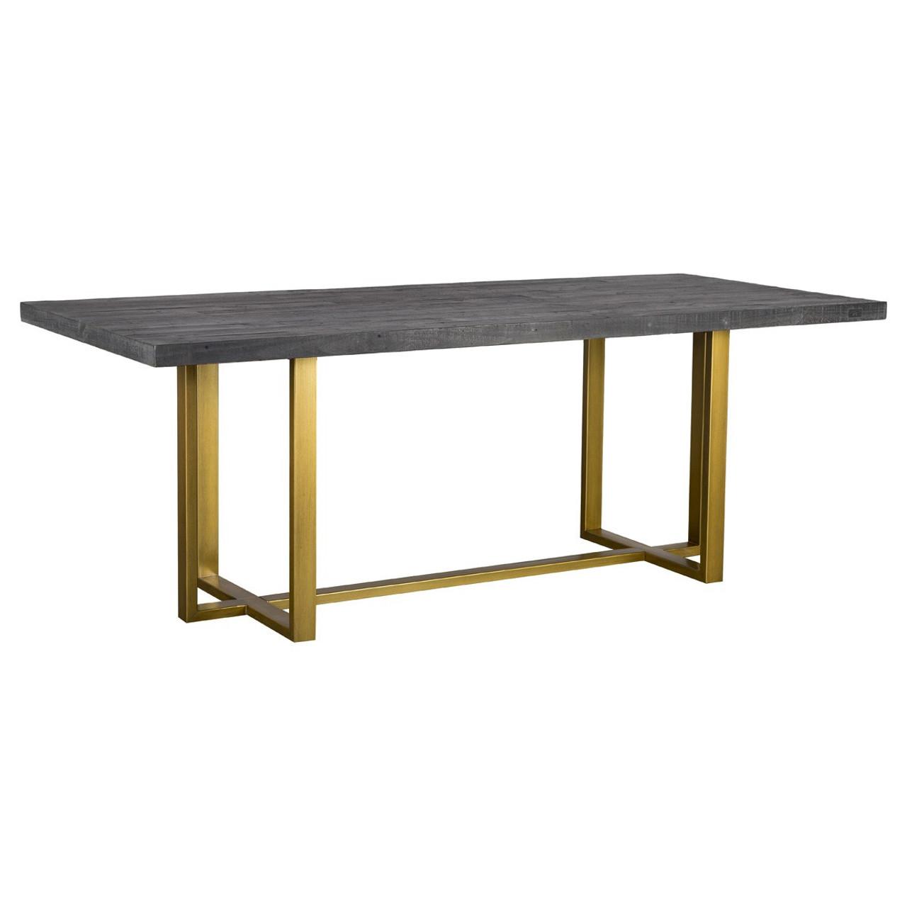 Elle Brass Leg Reclaimed Wood Dining Table 83\