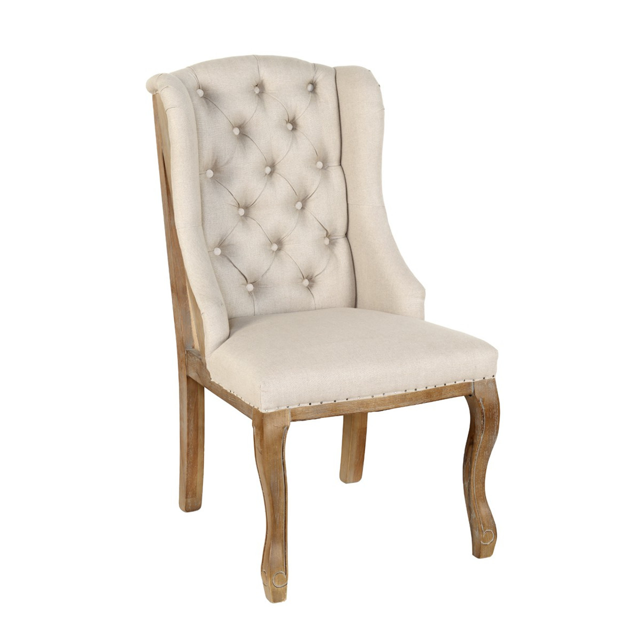 Deconstructed Beige Linen Wingback Dining Chair