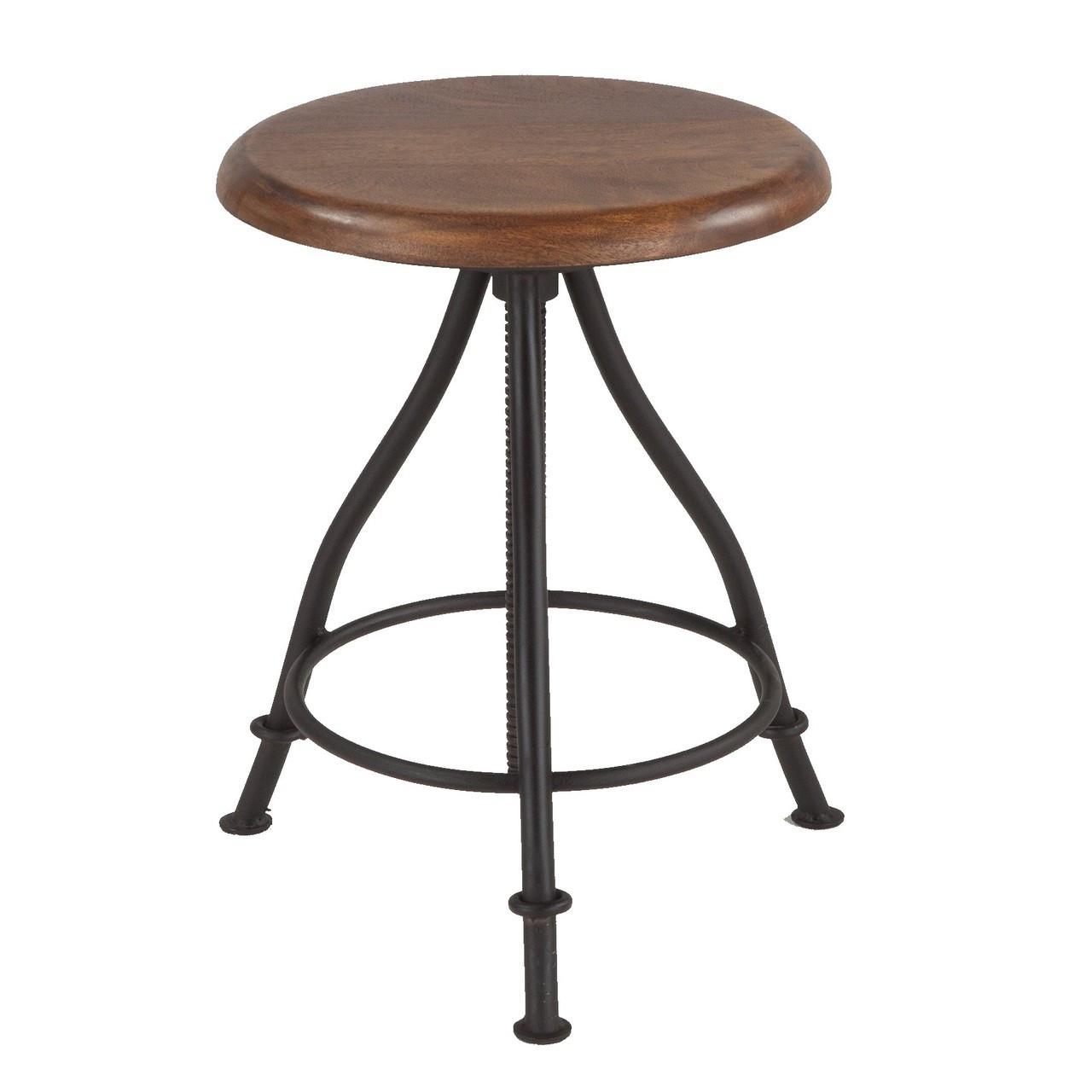 Outstanding Steampunk Industrial Wood And Iron Crank Adjustable Stool Inzonedesignstudio Interior Chair Design Inzonedesignstudiocom