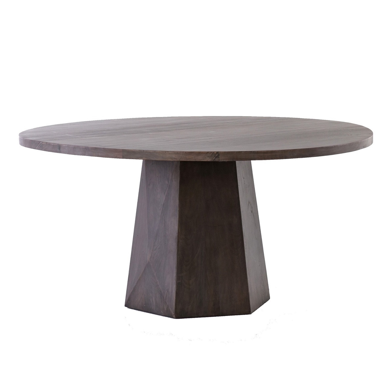 Kemper Reclaimed Wood Coal Grey Round Pedestal Dining Table 60