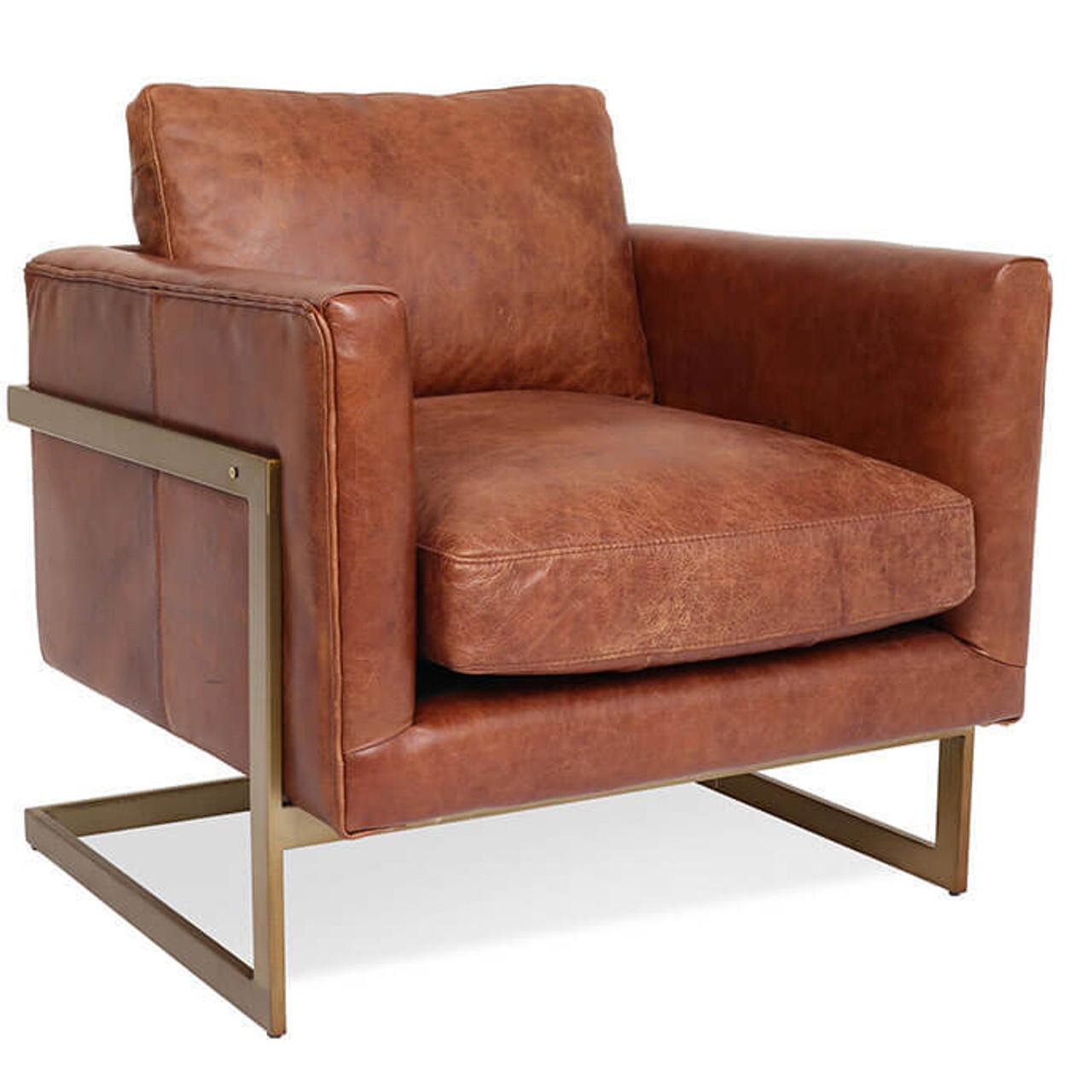 Charmant London Modern Cognac Leather Club Chair
