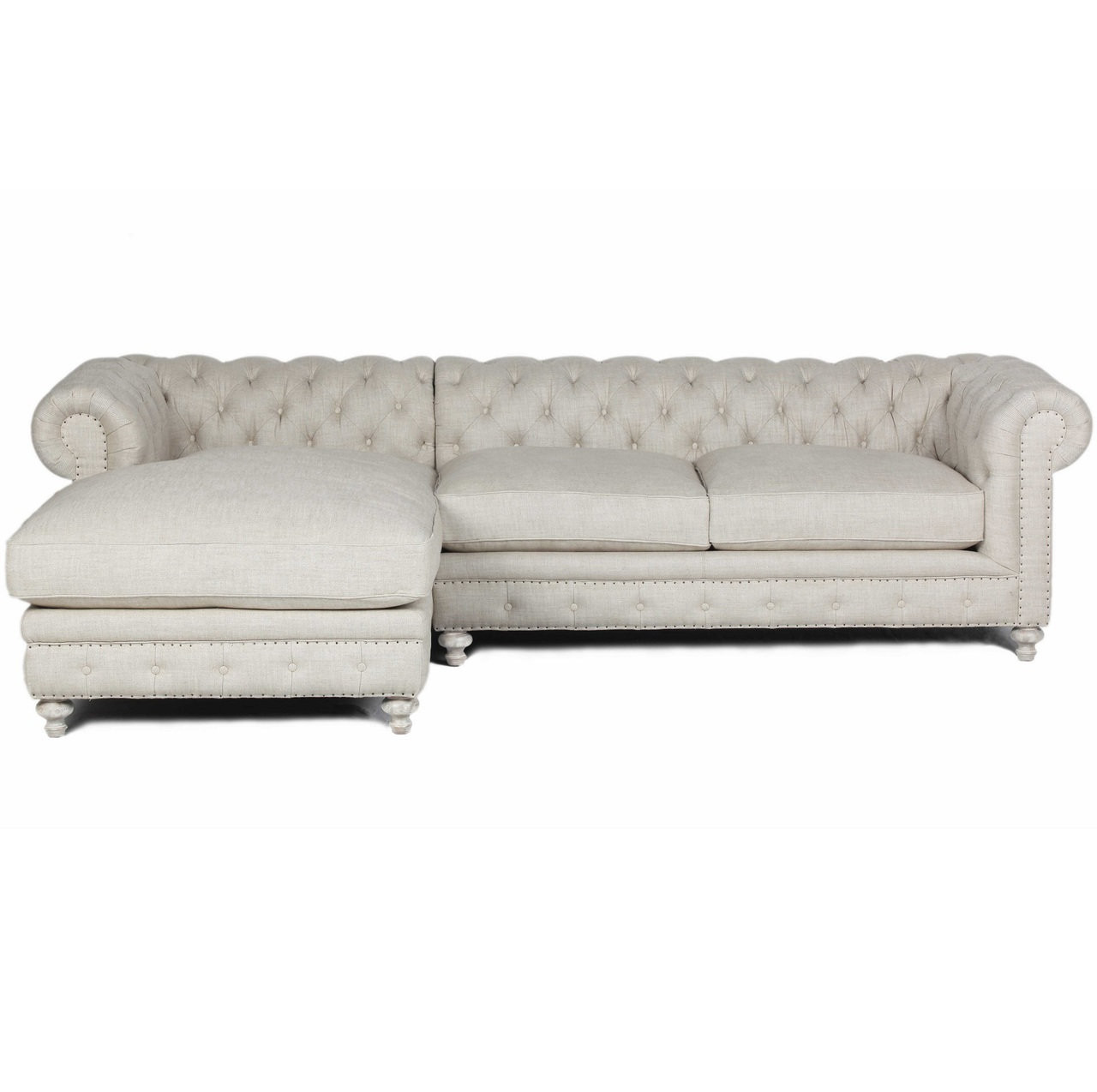 Warner Tufted Linen Chesterfield Left Chaise Sectional Sofa Zin Home