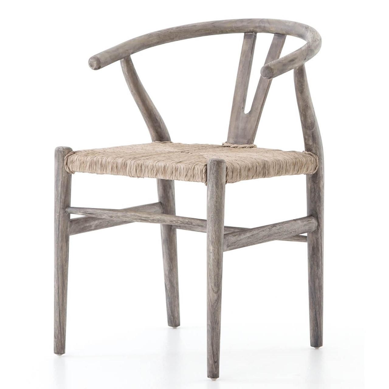 Muestra Grey Teak Wood Woven Wicker Dining Chair Zin Home Fourhands