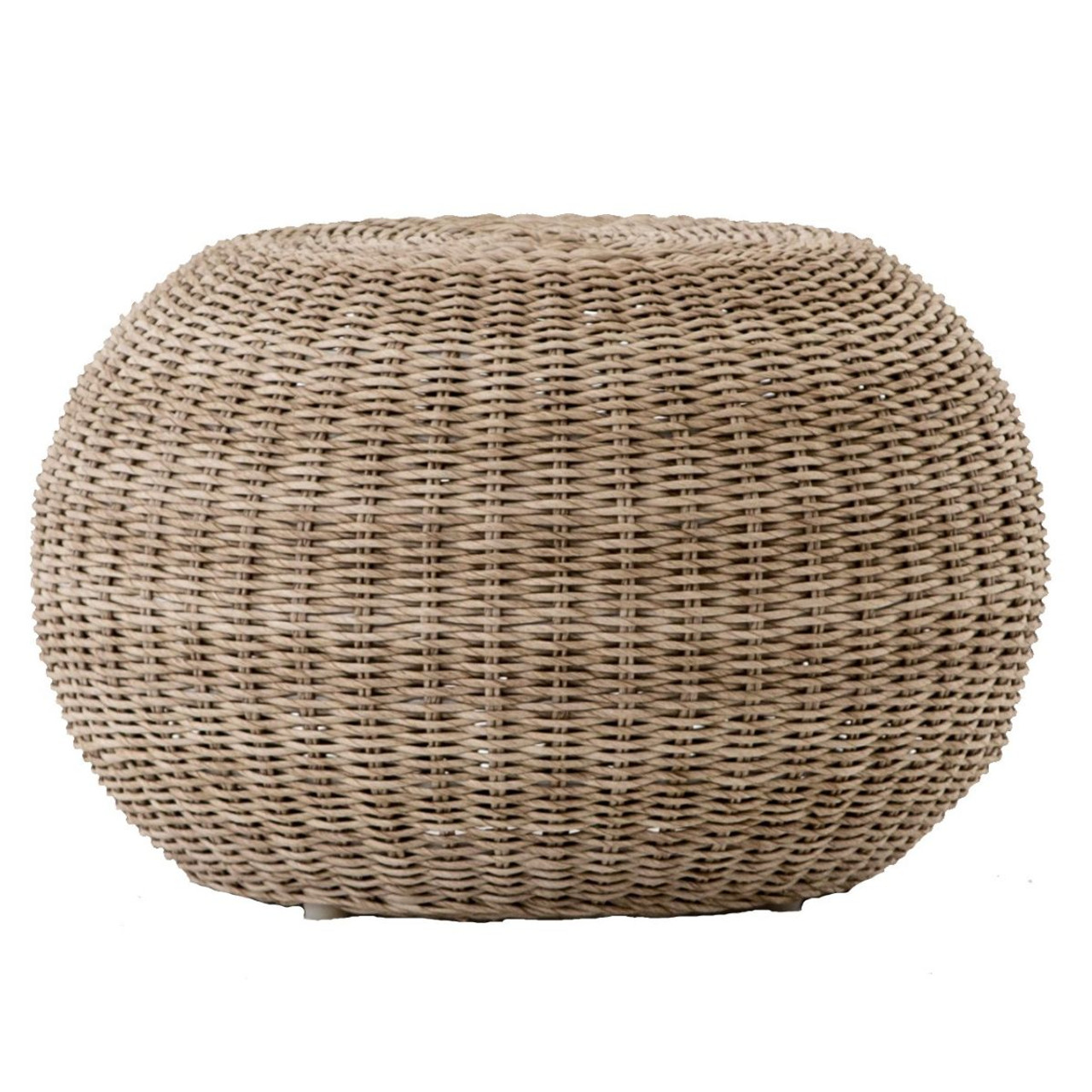Pascal Vintage White Woven Wicker Round Stool Ottoman Zin Home Fourhands