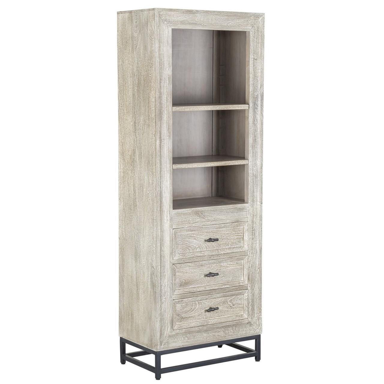 Marabella Solid Wood 3 Drawer Whitewash Bookcase