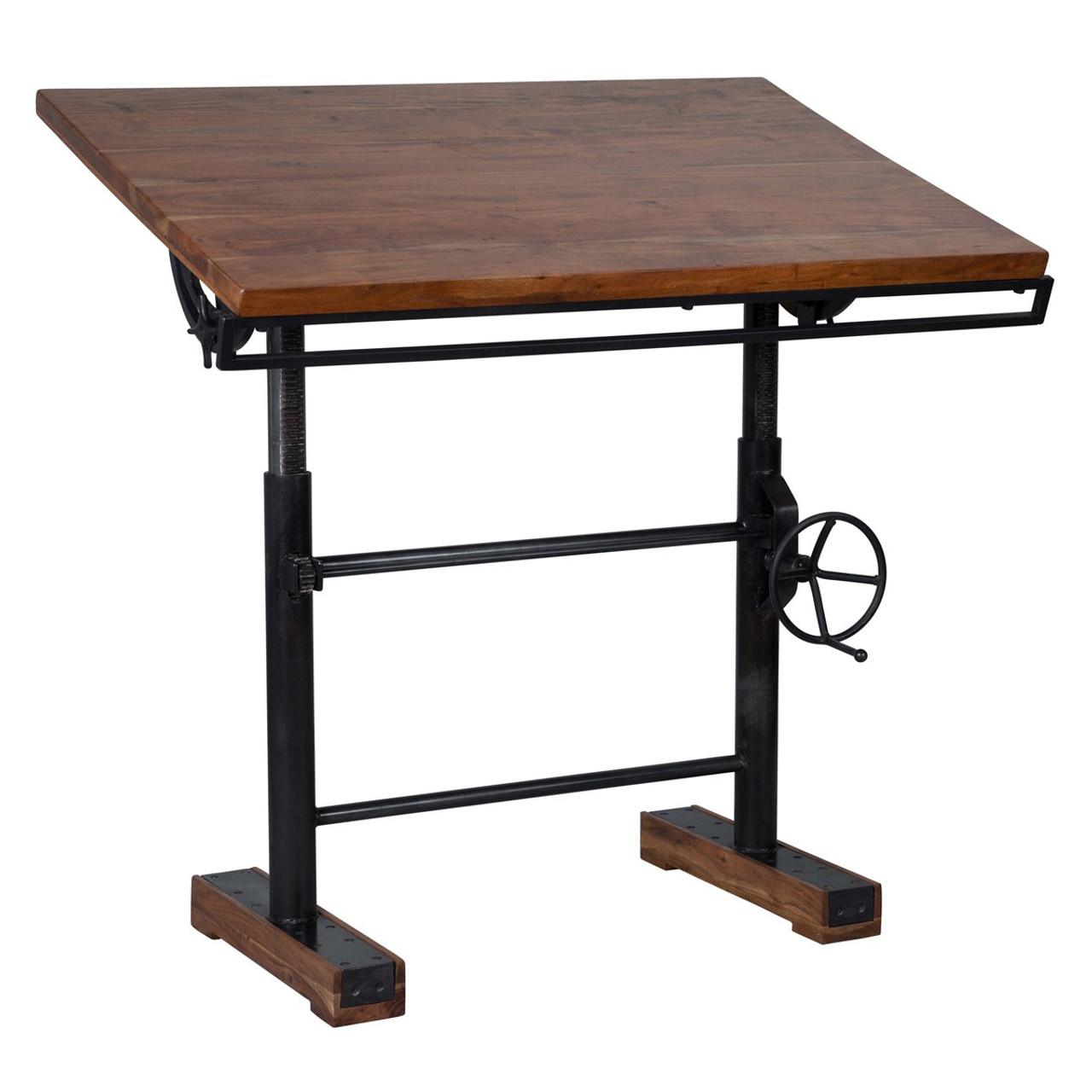 Steampunk Industrial Crank Adjustable Standing Desk 46 Zin Home