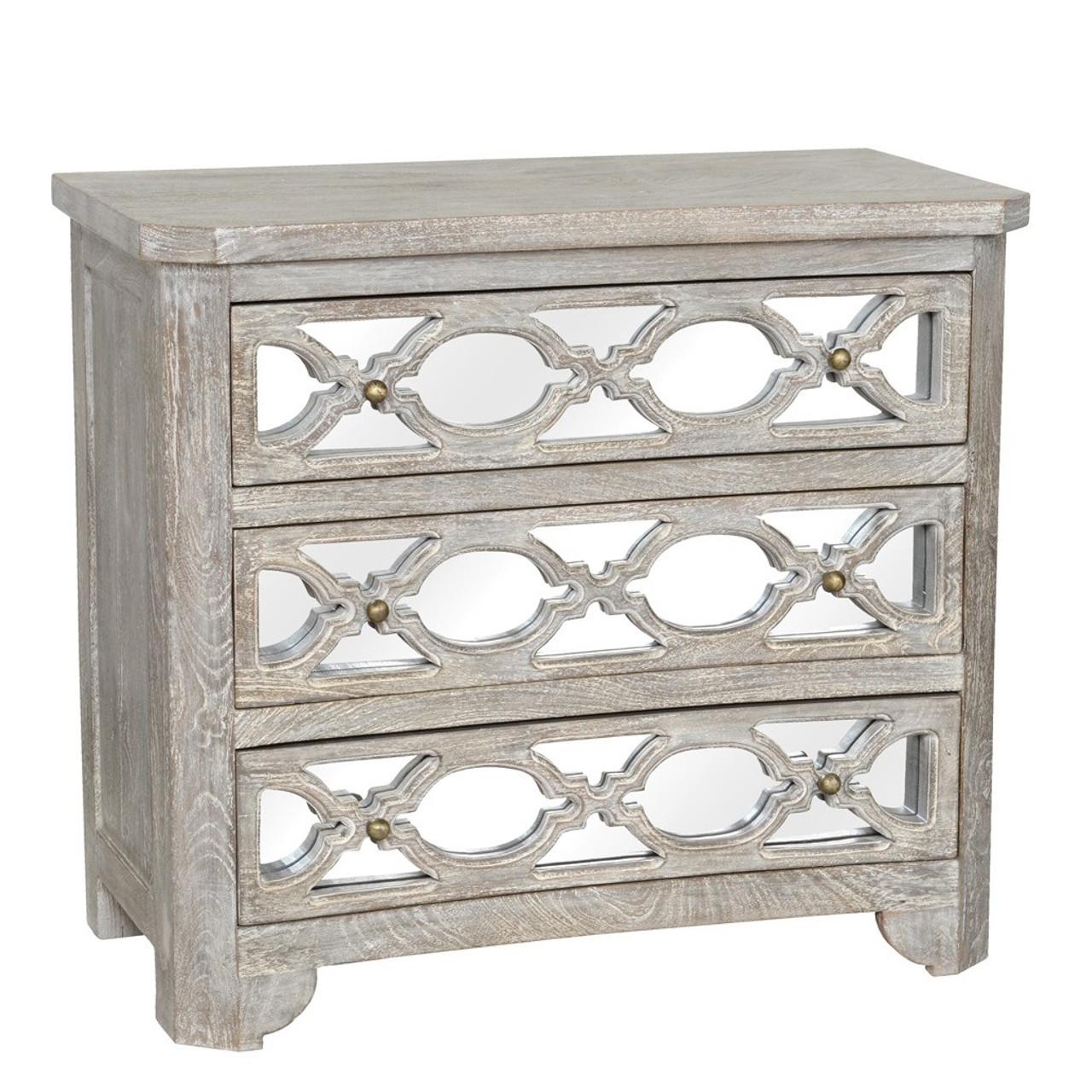 Lattice Whitewash Wood Mirrored 3 Drawers Chest 36 Zin Home