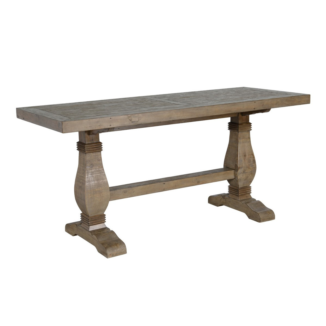 Farmhouse Reclaimed Wood Double Trestle Counter Height Table 77