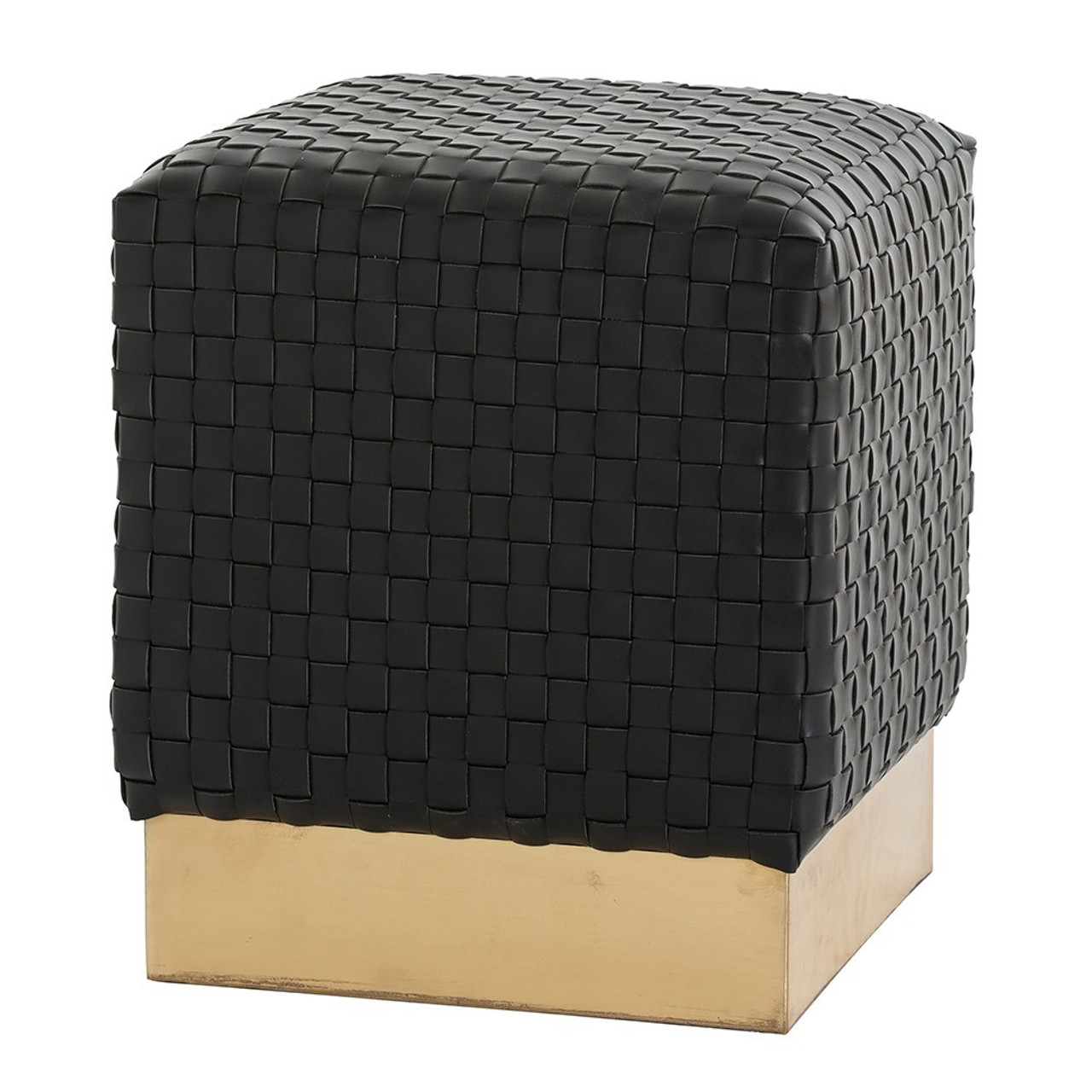 Swell Emmit Black Woven Leather Square Ottoman Lamtechconsult Wood Chair Design Ideas Lamtechconsultcom