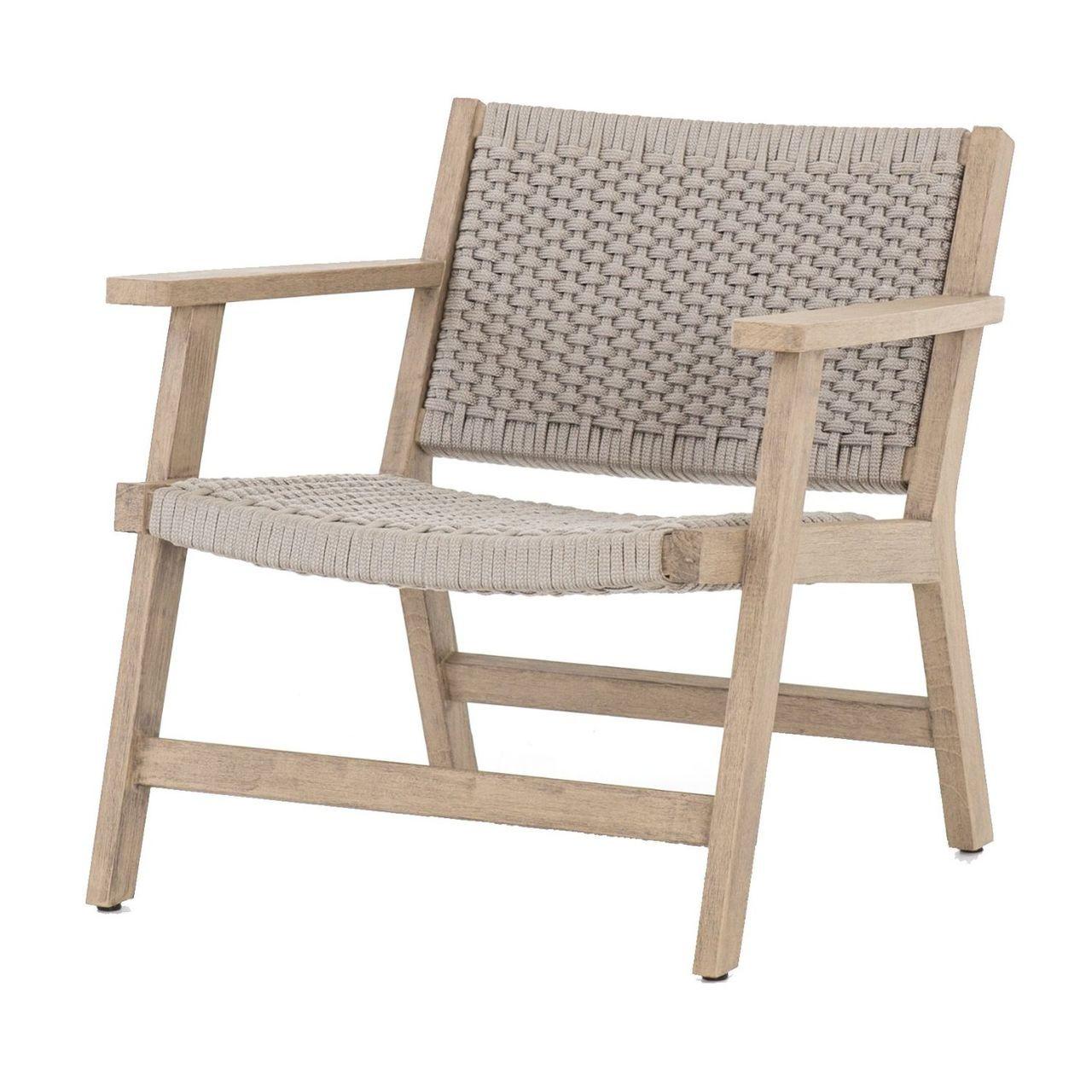 Delano natural teak outdoor rope chair grey brown
