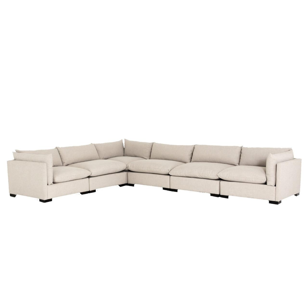 Westworld Modern Beige 6-Piece Corner Sectional Sofa 156\