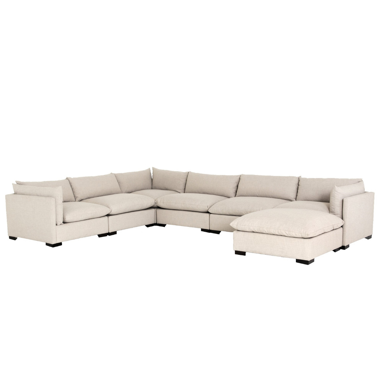 Westworld Modern Beige 7-Piece L-Shape Sectional Sofa 156\