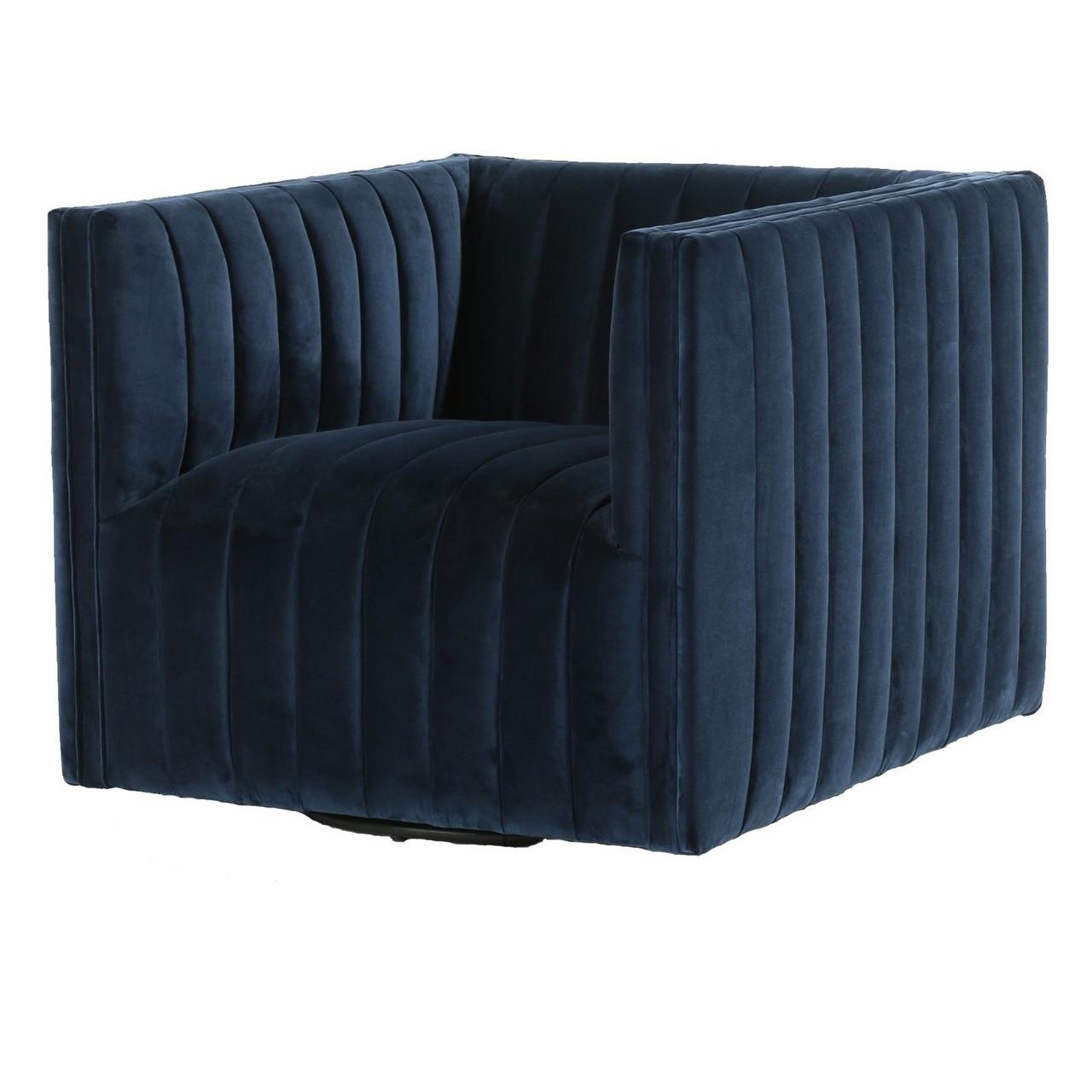 Terrific Augustine Channel Tufted Navy Velvet Swivel Chair Short Links Chair Design For Home Short Linksinfo