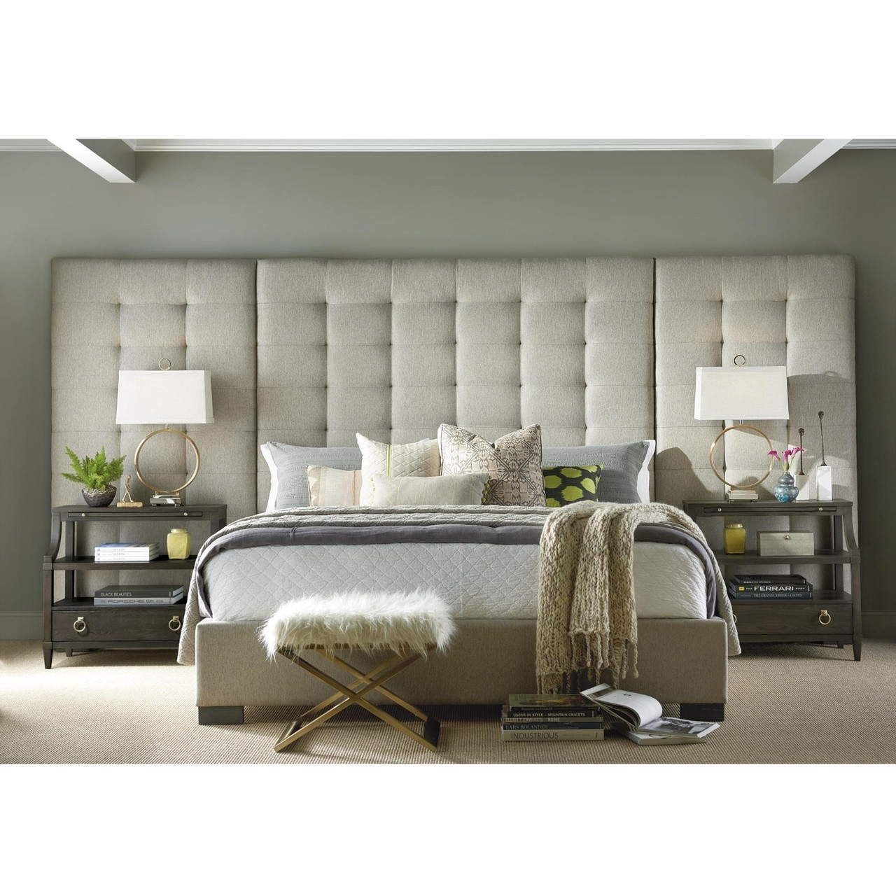 Camille Box Tufted Extended Headboard Grey Upholstered Queen Bed Zin Home