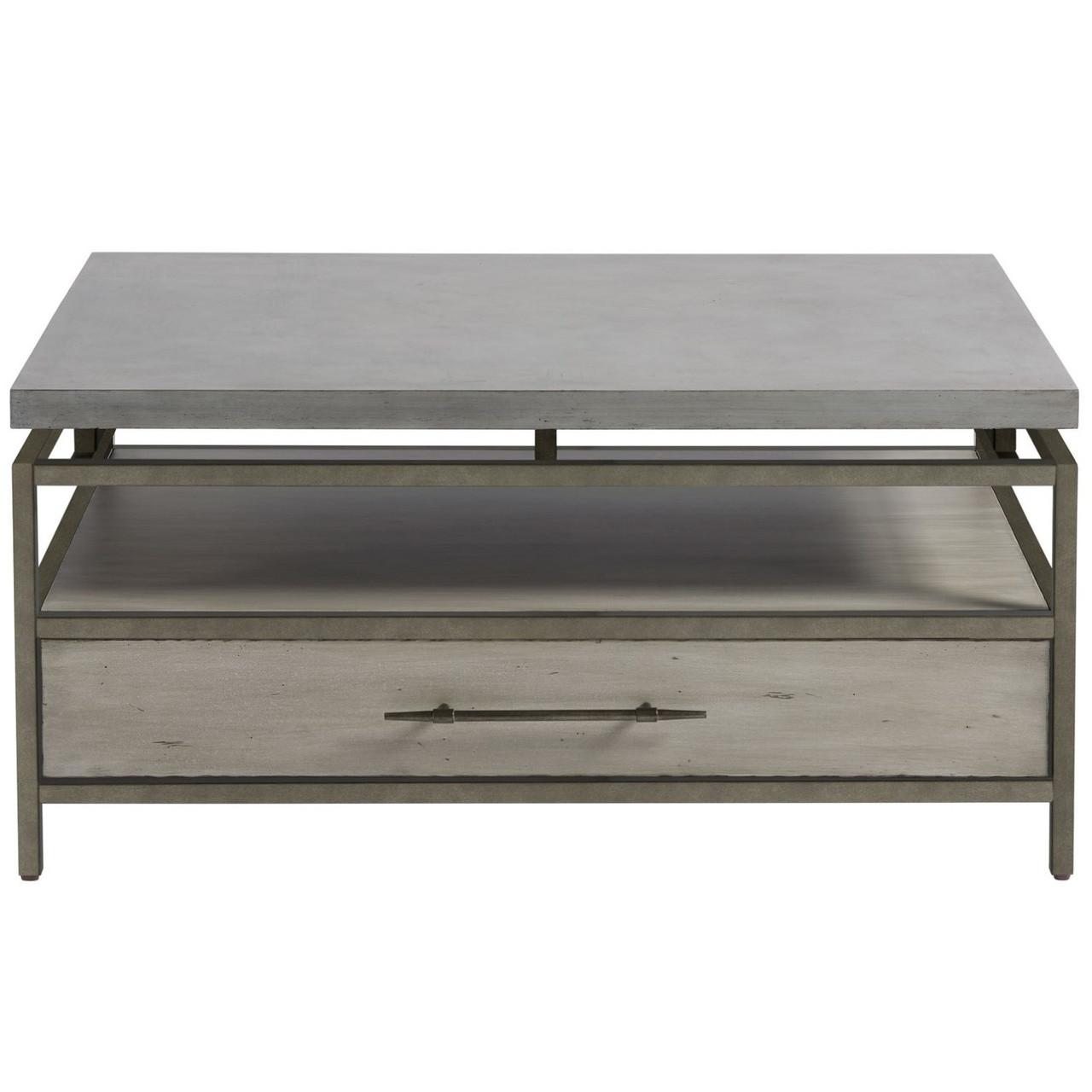 Garrison Concrete Top Bronze Base Storage Cocktail Table Zin Home