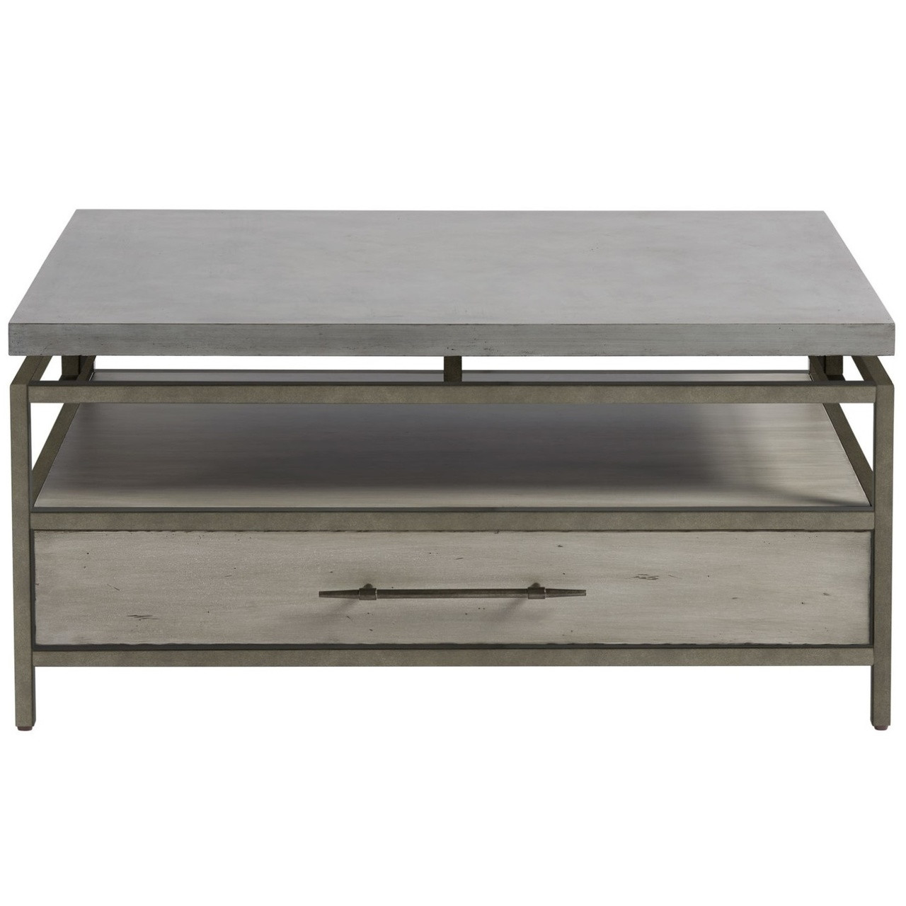 Garrison Concrete Top Bronze Base Storage Cocktail Table Zin Home