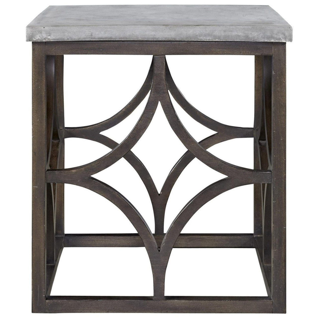 French Maison Dark Wood Concrete Top End Table Zin Home