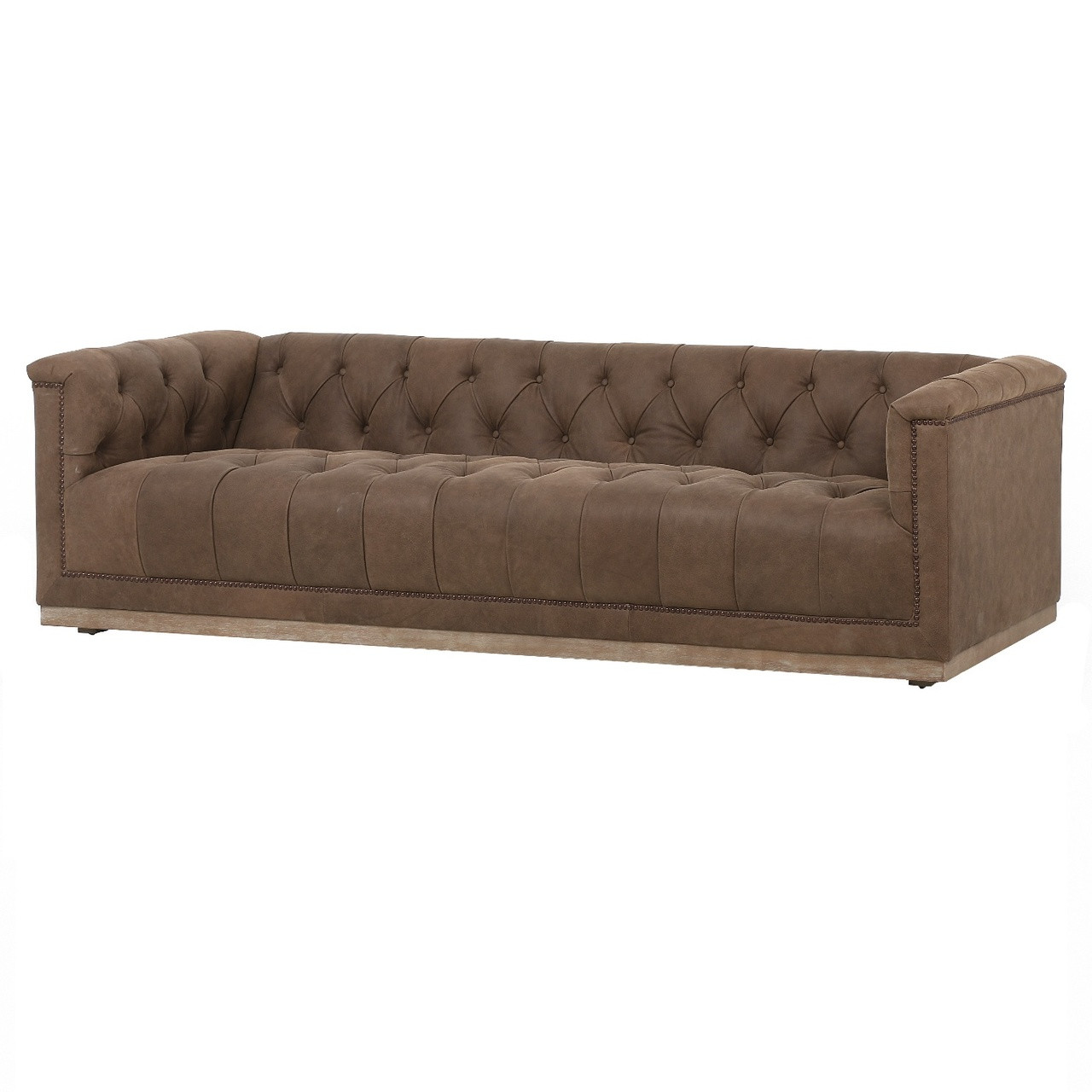 Maxx Umber Brown Leather Modern Tufted Sofa 95 | Zin Home - Fourhands