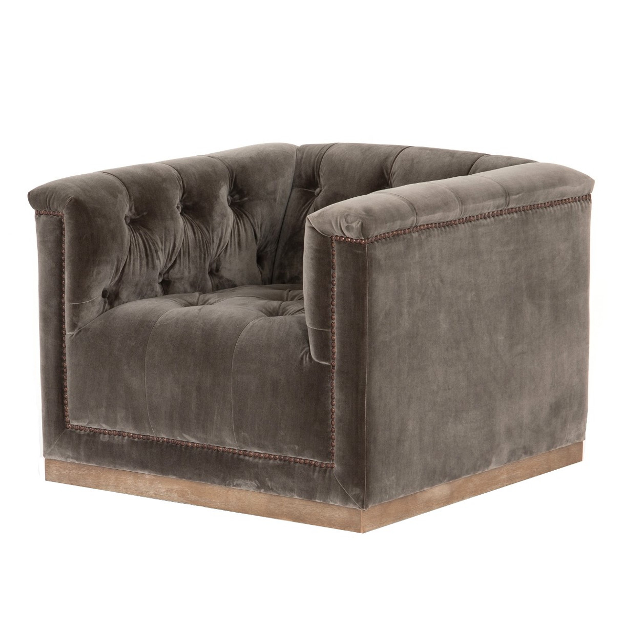 Stupendous Maxx Birch Brown Tufted Modern Swivel Club Chair Gmtry Best Dining Table And Chair Ideas Images Gmtryco
