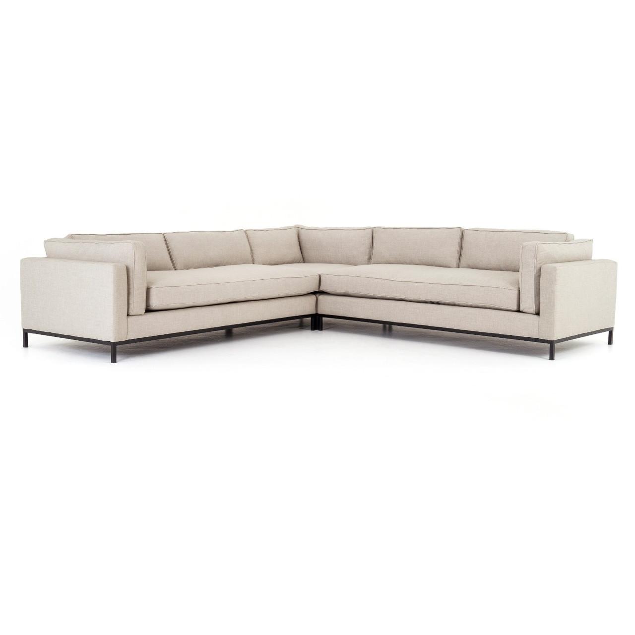 Grammercy Sand Fabric 3 Piece Corner Sectional Sofa