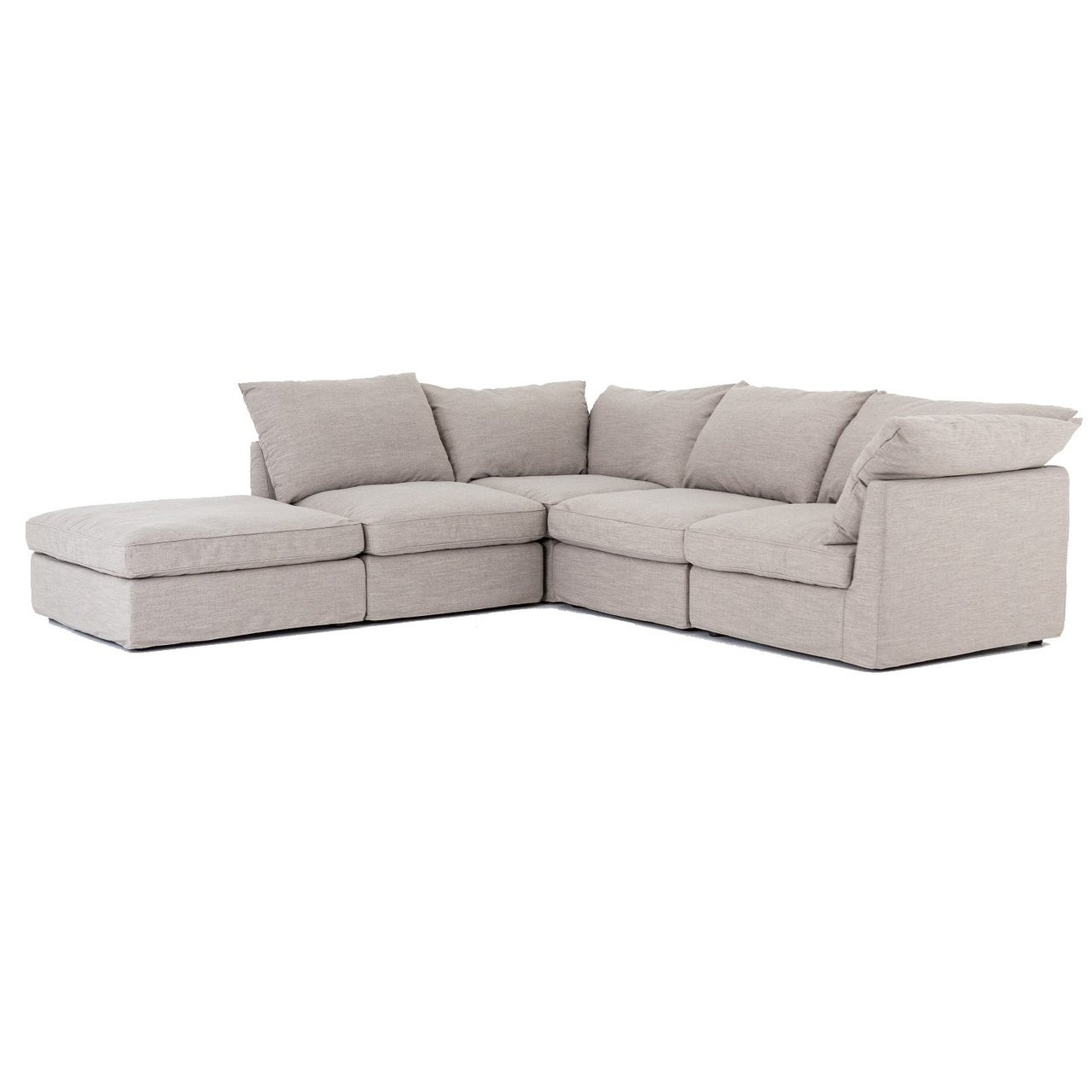 Paul Coastal Grey 5-Piece Modular Sectional Sofa