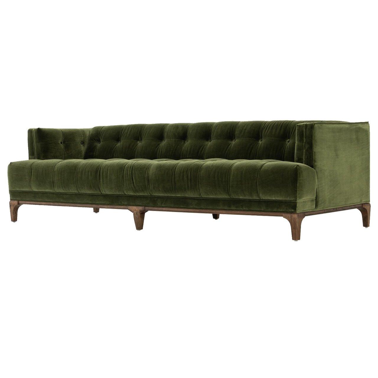Dylan mid century modern olive green velvet tufted sofa