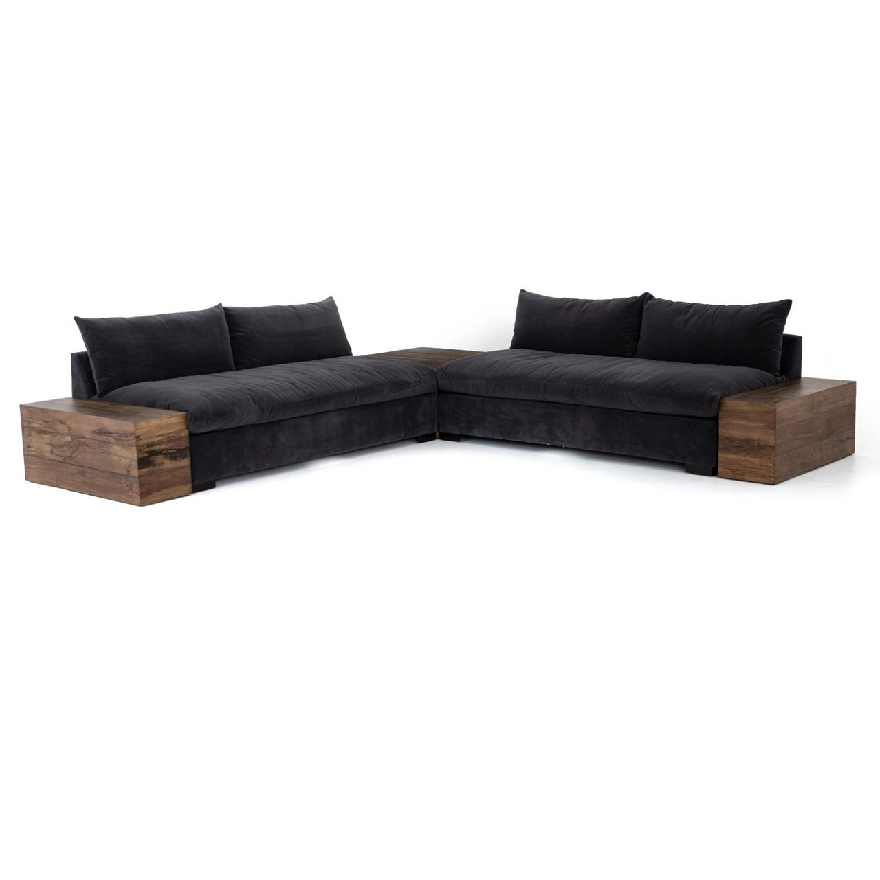 Dorset Charcoal Grey 2-Piece Sectional Sofa with Wooden Arms | Zin ...