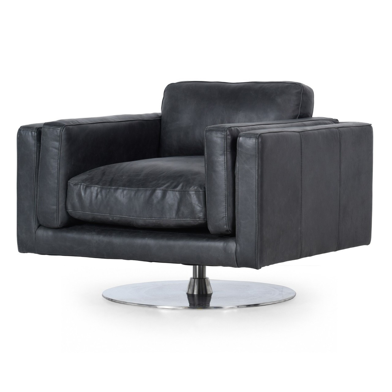 Outstanding Locke Modern Ebony Black Leather Swivel Chair Evergreenethics Interior Chair Design Evergreenethicsorg