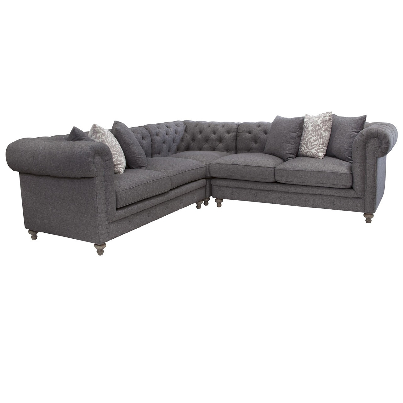 Alice charcoal tufted 3 piece corner sectional sofa 114 zin home